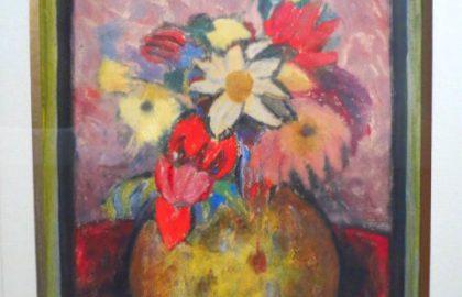 מישל אדלן – גואש על נייר, דומם, אגרטל פרחים